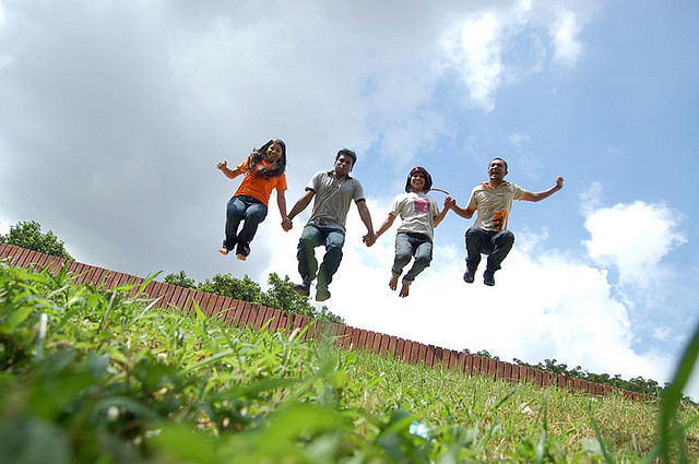 Friends Jumping