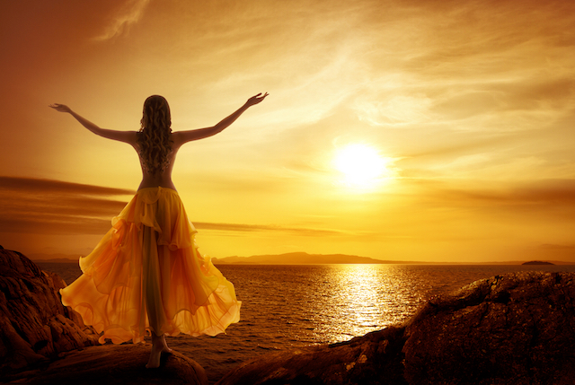 Calm Woman Meditating on Sunset Beach, Relax in Open Arms Pose