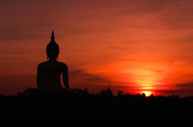 Buddha with Orange Background