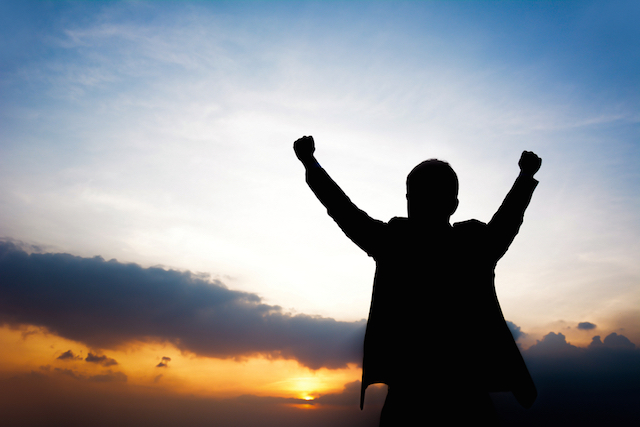 Man with Arms Raised Image
