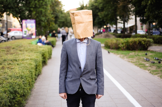 Man with Bag on Head