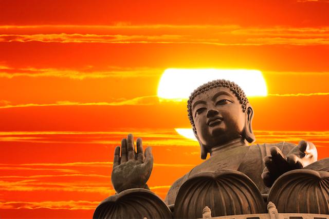 Buddha with Sunset