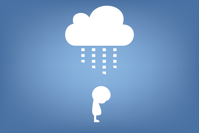 cloud raining on person illustration , vector