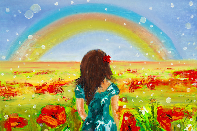 Girl and a rainbow