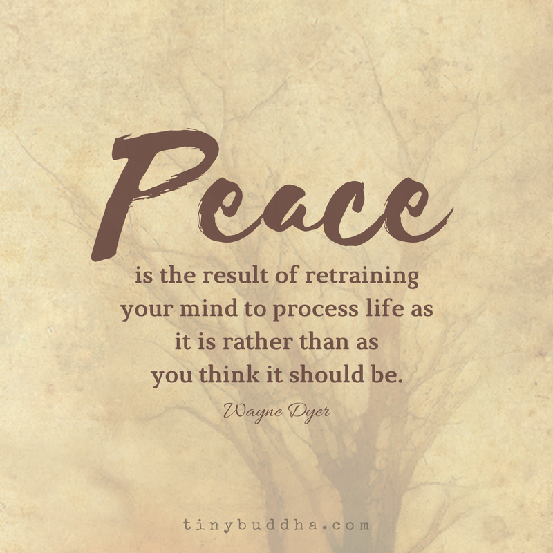 Peace Is the Result of Retraining Your Mind - Tiny Buddha