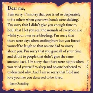 Dear Me, I Am Sorry