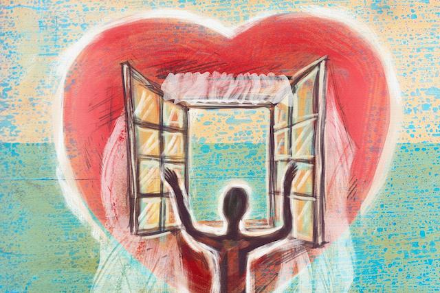 Man heart window