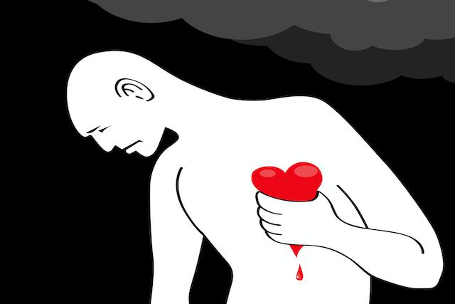 Man with bleeding heart