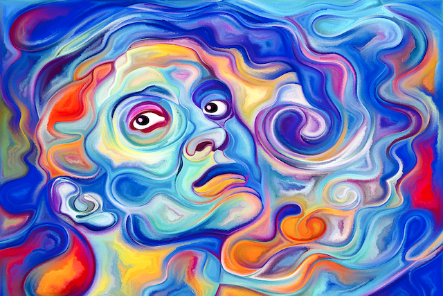 Colorful unhappy woman